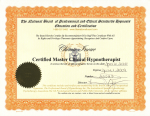 Master Clinical Hypnotherapist 認定書